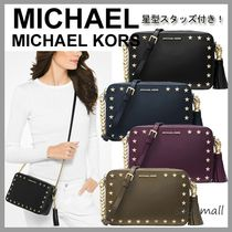 Michael Kors Casual Style Studded Plain Leather Shoulder Bags