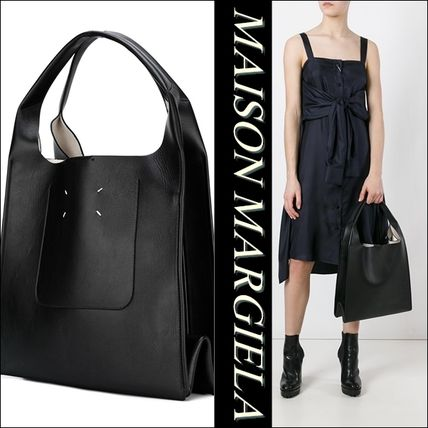 Casual Style Unisex A4 Leather Totes
