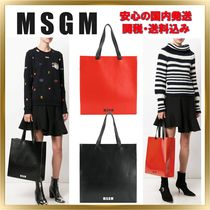 MSGM Casual Style Unisex A4 Plain Totes