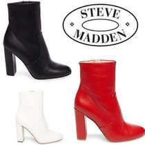 Steve Madden Round Toe Plain Leather Chunky Heels Ankle & Booties Boots