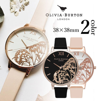 Leather Round Quartz Watches Elegant Style Analog Watches