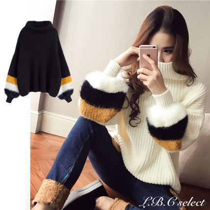 Cable Knit Casual Style Plain Medium Puff Sleeves