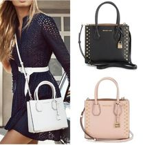 Michael Kors MERCER Studded 2WAY Plain Leather Elegant Style Shoulder Bags
