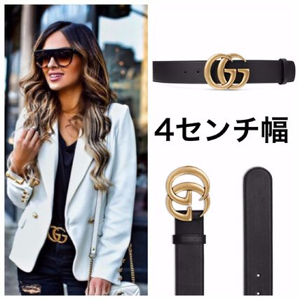GUCCI GG Marmont Plain Leather Belts