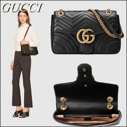 2WAY Chain Leather Elegant Style Shoulder Bags