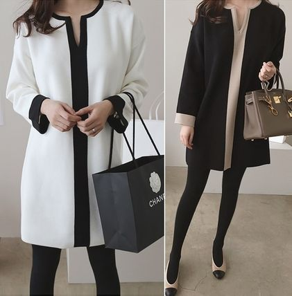 Bi-color Long Sleeves Cotton Dresses