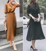 Chiffon U-Neck Long Sleeves Plain Long Party Style Dresses