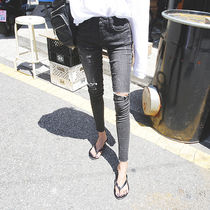 Casual Style Plain Long Skinny Jeans