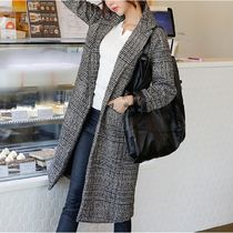 Glen Patterns Casual Style Wool Long Chester Coats
