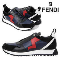 FENDI Plain Leather Sneakers