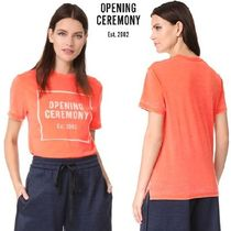 OPENING CEREMONY Crew Neck Casual Style Cotton Short Sleeves T-Shirts