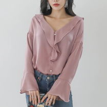 Long Sleeves Plain Party Style Shirts & Blouses