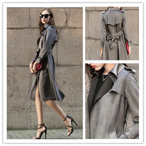 Suede Long Midi Office Style Trench Coats