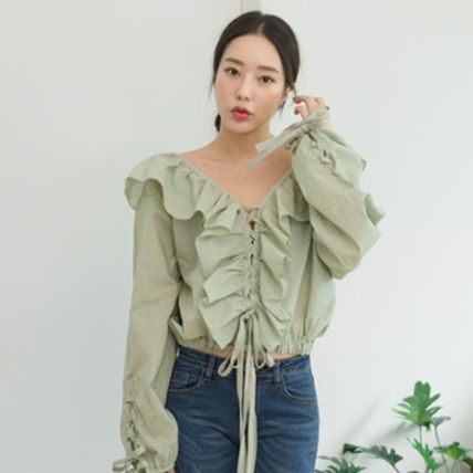 Shirts & Blouses Casual Style Street Style Long Sleeves Plain Cotton Medium