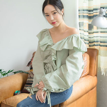 Shirts & Blouses Casual Style Street Style Long Sleeves Plain Cotton Medium 7