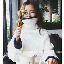 Casual Style Oversized Super-long Sleeves Turtlenecks