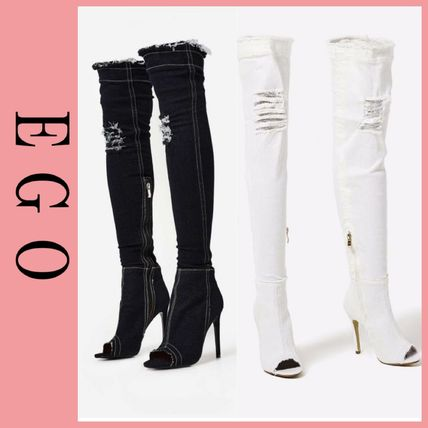 Open Toe Plain Over-the-Knee Boots