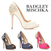 Badgley Mischka Open Toe Platform Party Style With Jewels Pumps & Mules