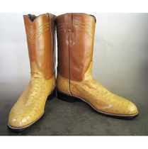 Justin Boots Cowboy Boots Round Toe Leather Mid Heel Boots
