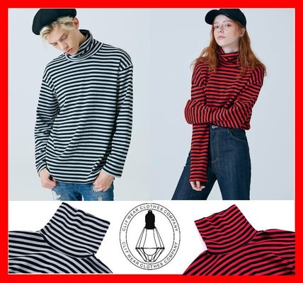 Stripes Unisex Long Sleeves Long Turtlenecks