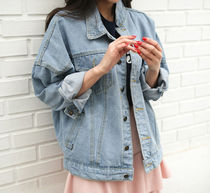 Casual Style Denim Plain Medium Oversized Jackets