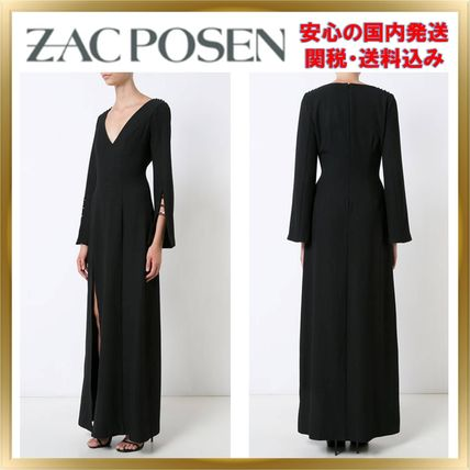 A-line V-Neck Cropped Plain Long Dresses