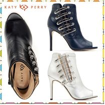 Katy Perry Open Toe Plain Leather Pin Heels High Heel Boots