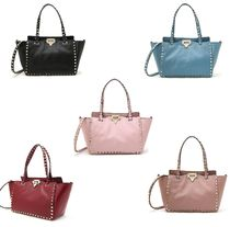 VALENTINO Studded 2WAY Plain Leather Handbags