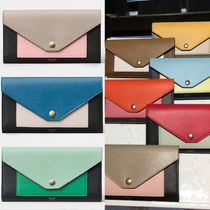 CELINE Pocket Trifolded Plain Leather Long Wallets