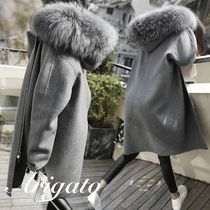 Casual Style Plain Long Oversized Coats