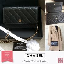 CHANEL 3WAY Chain Plain Leather Bags