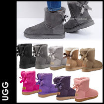 UGG Australia MINI BAILEY BOW Casual Style Sheepskin Plain Ankle & Booties Boots