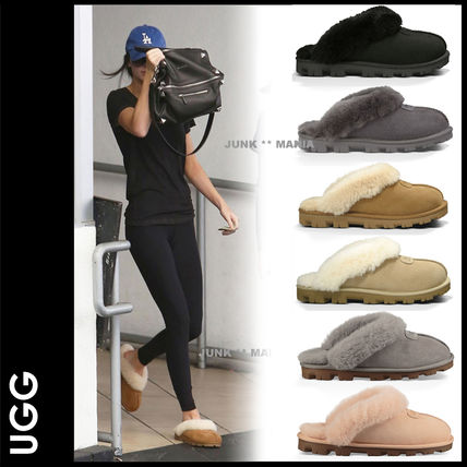 Casual Style Sheepskin Plain Slippers Slip-On Shoes