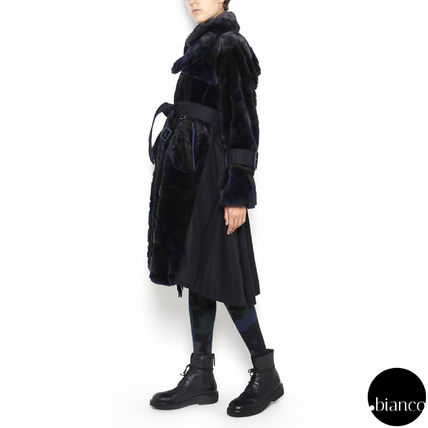 sacai Faux Fur Bi-color Long Oversized Elegant Style Parkas