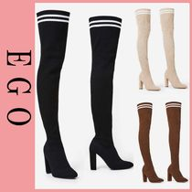 EGO Stripes Round Toe Casual Style Over-the-Knee Boots