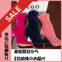 EGO Velvet Plain Pin Heels Party Style Ankle & Booties Boots