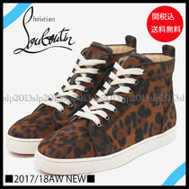 Christian Louboutin LOUIS Leopard Patterns Leather Sneakers