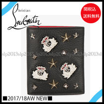 Christian Louboutin Blended Fabrics Plain Leather Folding Wallets