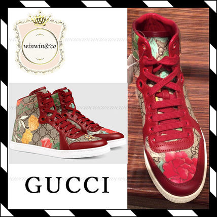 GUCCI Flower Patterns Lace-up Other Animal Patterns Leather