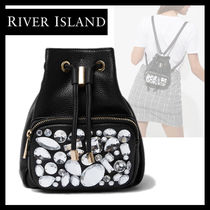 River Island Casual Style Faux Fur Plain Purses With Jewels Backpacks