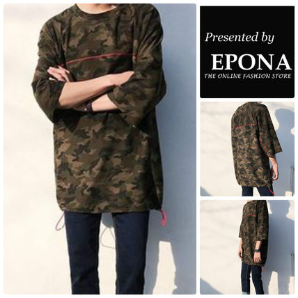 Crew Neck Camouflage Street Style Cropped Cotton Shirts