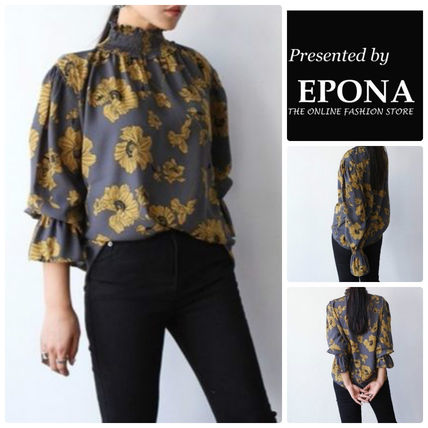 Flower Patterns Cotton Elegant Style Puff Sleeves