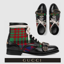 GUCCI Other Check Patterns Wing Tip Blended Fabrics Leather Boots