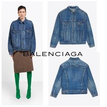 BALENCIAGA Short Casual Style Denim Plain Jackets