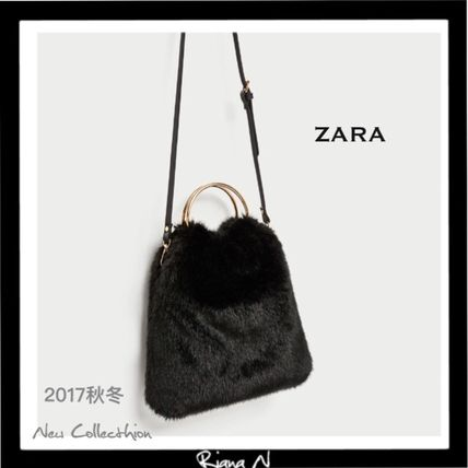 ZARA Faux Fur 2WAY Plain Totes