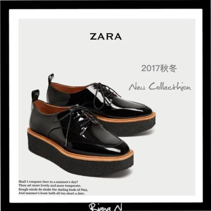 ZARA Platform Enamel Plain Loafer Pumps & Mules
