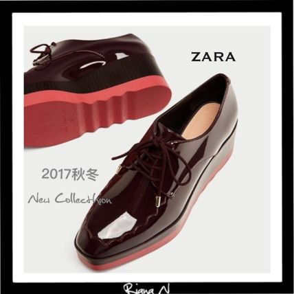 ZARA Platform Enamel Plain Lace-Up Shoes