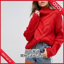 ASOS Cable Knit Casual Style Long Sleeves Plain Medium High-Neck