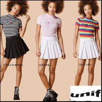 UNIF Clothing Stripes Casual Style Cotton Short Sleeves High-Neck T-Shirts