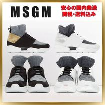 MSGM Casual Style Unisex Plain Leather Low-Top Sneakers